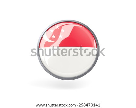 Metal framed round icon with flag of singapore - stock photo