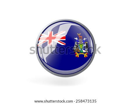 Metal framed round icon with flag of  the south sandwich islands - stock photo