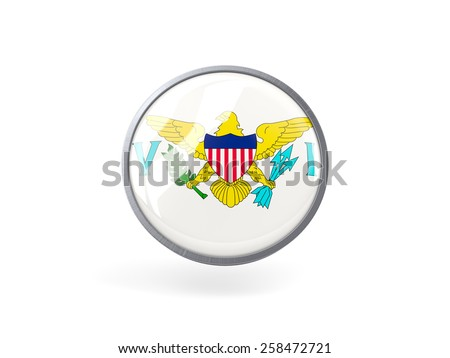 Metal framed round icon with flag of usa virgin islands - stock photo