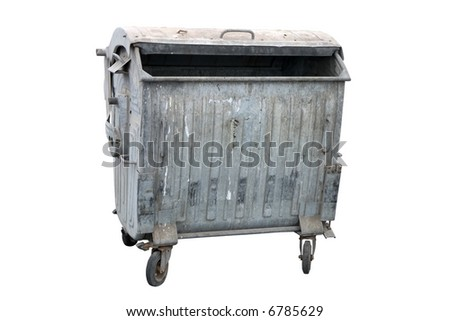 Metal garbage container. Four wheeled trash can isolated on white