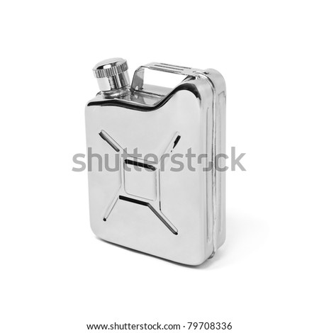 Metal gasoline can on white background