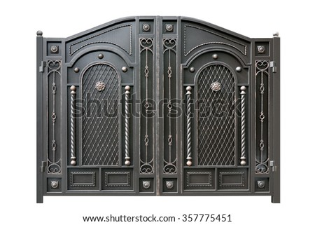 Metal  gate  with ornament.  Isolated over white background. - stock photo