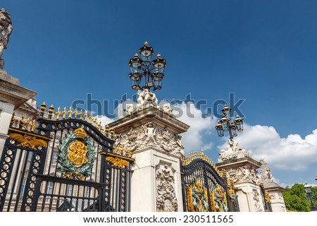 Metal  Gates, fence and street lamp. Buckingham Palace,  London, England - stock photo