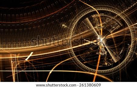 Metal Gear Wheel, Clock Mechanism - Old watch mechanism, cog wheels and gears on black  background, fantasy golden clockwork, abstract illustration - stock photo
