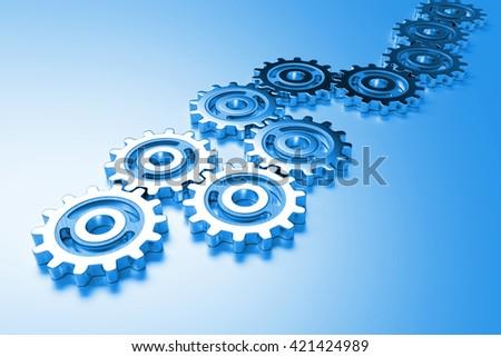 metal gear wheels (blue 3d illustration) - stock photo