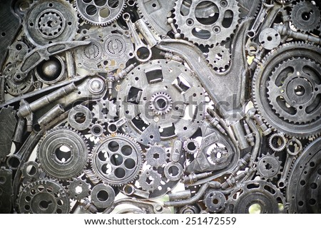 Metal Gears, car, auto, motocycle. Handicraft metal artwork from used spare parts. - stock photo