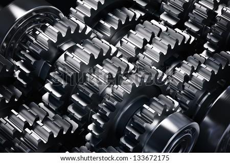 Metal gears group complex industrial mechanism - stock photo