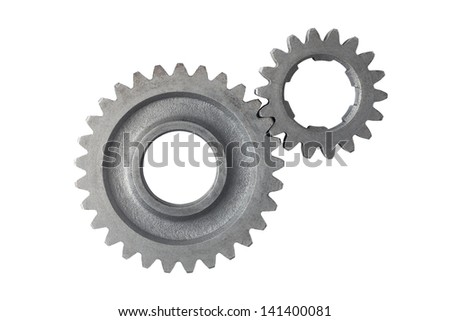 Metal gears isolated on a white background - stock photo