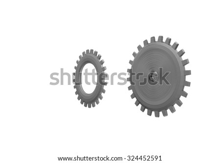 Metal gears isolated with Clipping path on a white background. - stock photo