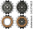 Metal Gears on a White Background / Four metal and brown gears with bolts isolated on white background - stock photo
