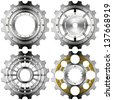 Metal Gears on a White Background / Four metal and gold gears with bolts isolated on white background - stock vector