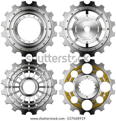 Metal Gears on a White Background / Four metal and gold gears with bolts isolated on white background - stock photo