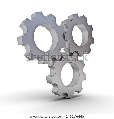 Metal gears over white background - stock photo