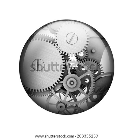 Metal gears. Spherical glossy button. Web element