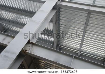 Metal girder support This metal support plates are used to create floors in a construction  - stock photo