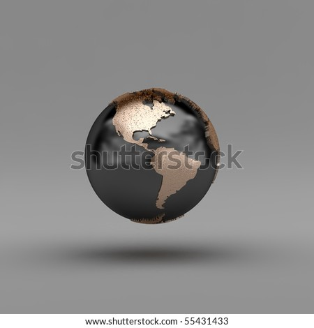 Metal globe showing North and South America over gray background - clipping path included