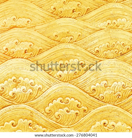 metal gold pattern Crafts wall in the temple of thailand, Lanna style Chiang Mai, Thailand. - stock photo