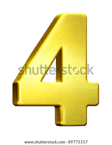 Metal golden 4, four isolated white background - stock photo