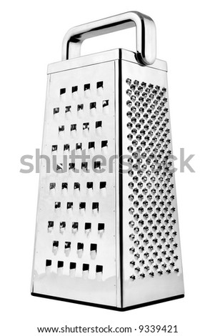 Metal grater with handle isolated on white background - stock photo