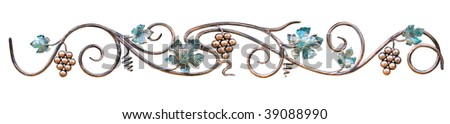metal green and gold ornament with grapes isolated over white background - stock photo
