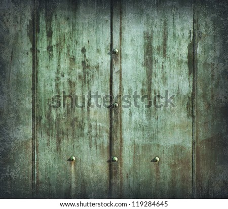 Metal green painted wall, weathered and grunge - stock photo