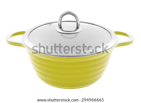 metal green saucepan with glass top isolated - stock photo