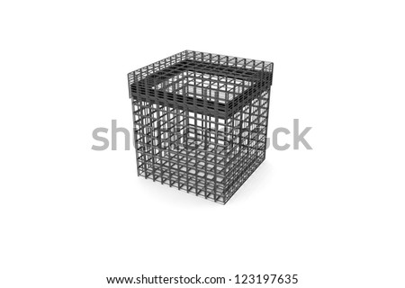 Metal grid box on a white background - stock photo