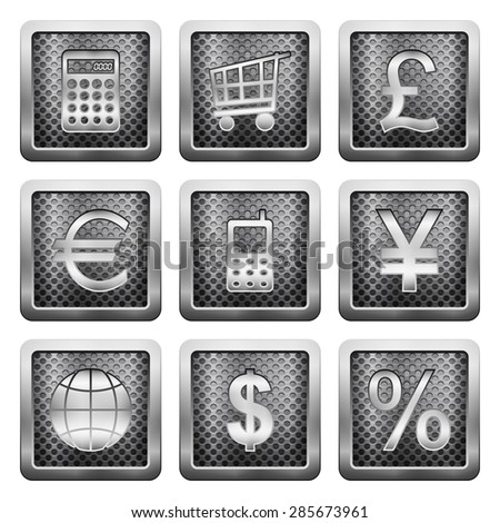 Metal grid icons on a white background. - stock photo