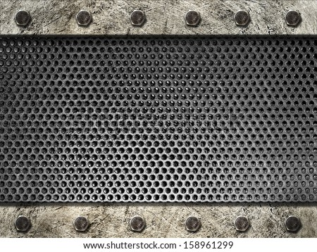 metal grille framed steel strips with bolts - stock photo
