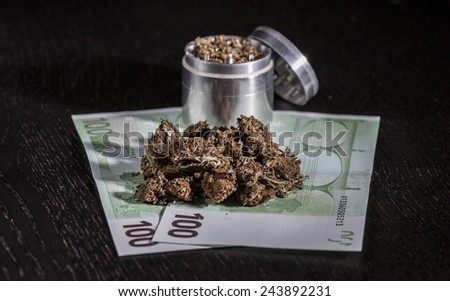Metal grinder, marijuana and hundred euro notes   - stock photo
