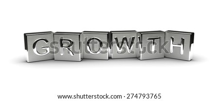 Metal Growth Text (isolated on white background) - stock photo