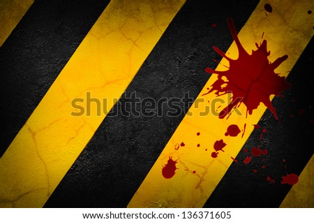 metal grunge background and blood - stock photo
