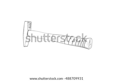 Metal hammer with a black handle, isolated on a white background. Imitation of pencil drawing.background.