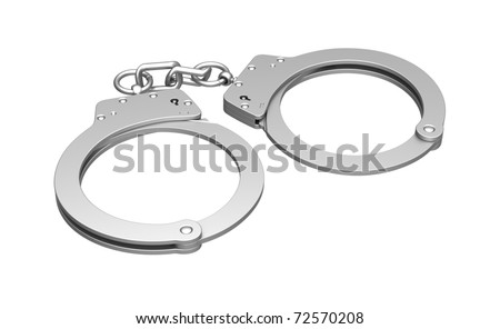 Metal handcuffs for hands on a white background - stock photo