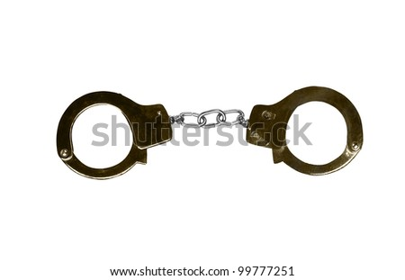 Metal handcuffs isolated on the white background. - stock photo