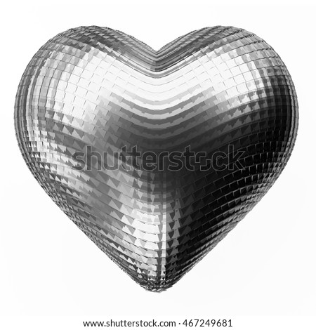 Metal Heart isolated on white background 3D Rendering