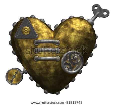 metal heart on white background - 3d illustration - stock photo
