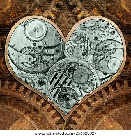 Metal heart ticking inside. Grungy background in the style of steam-punk - stock photo