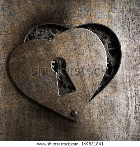 metal heart with keyhole - stock photo