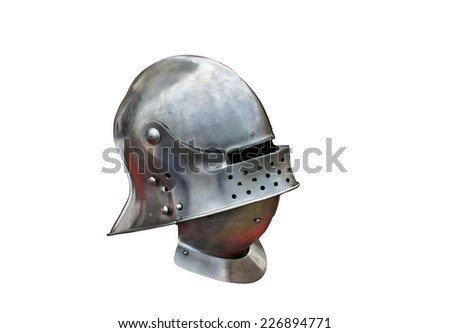 Metal helmet of the medieval knight on a white background - stock photo