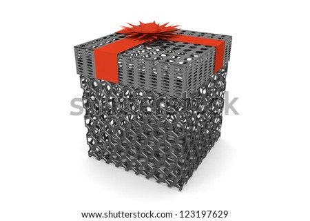 Metal hex-grid box gift with red ribbon bow on white background - stock photo