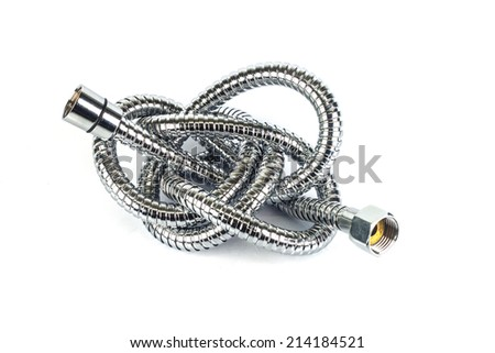 metal hose pipe for supplies water on white background