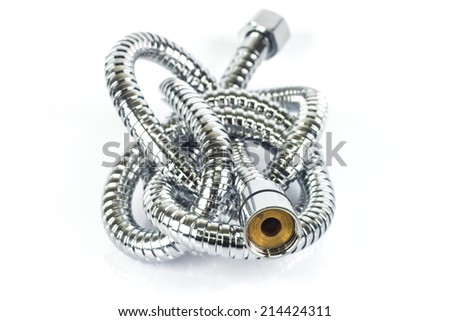 metal hose pipe for supplies water on white background - stock photo