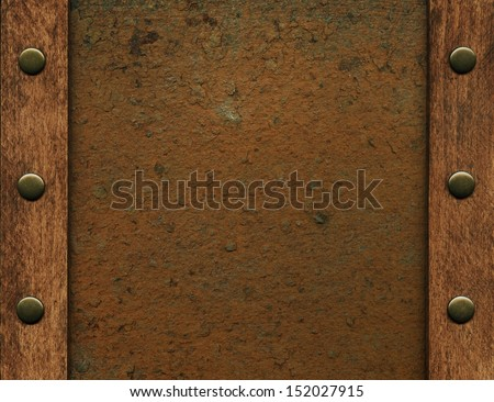 Metal in wooden frame - stock photo