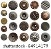 Metal jeans buttons and rivets. - stock photo