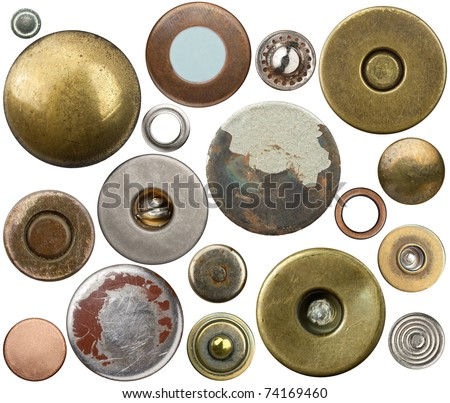 Metal jeans buttons, rivets set. Isolated on white background. - stock photo