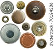 Metal jeans buttons set, isolated - stock photo