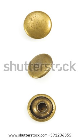 metal jeans rivets isolated on white background - stock photo