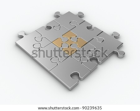 Metal jigsaw piece connected in puzzle structure - 3d render - stock photo