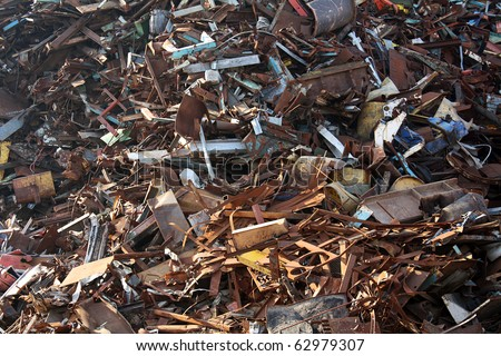 metal junk recycling yard close up - stock photo